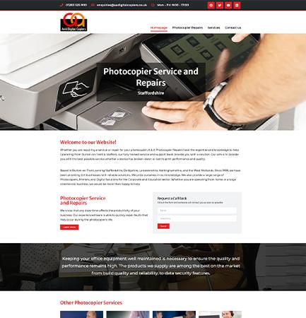 Web Design A&A Digital Photocopier Repairs Swadlincote