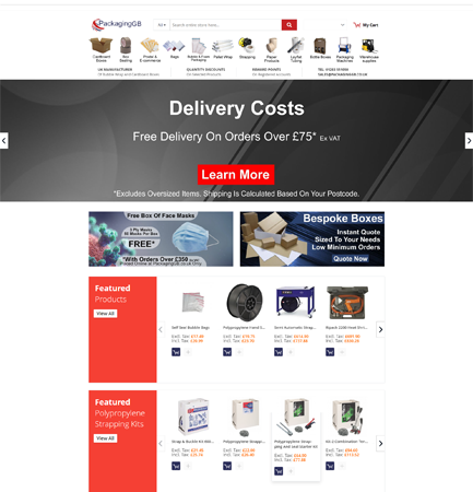Packaging GB website by CADS Web Design in Swadlincote